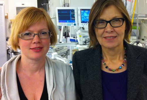 På Södersjukhusets akutmottagning med sjukhusets vd Christina Söderholm.