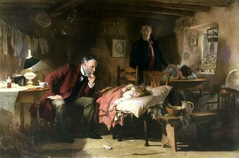 The Doctor av Samuel Luke Fildes år 1891. Så avancerad vård i hemmet man kunde i slutet av 1800-talet.