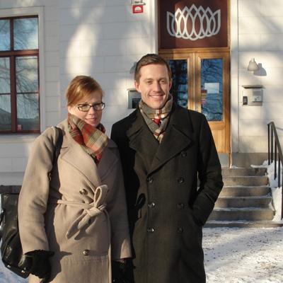 Thomas af Bjur och jag i ett gnistrande vackert och kallt Nyköping