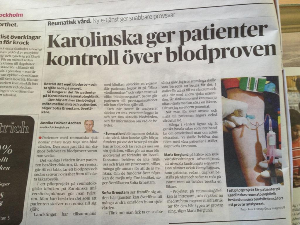Artikel om e-hälsa i Dagens Nyheter.