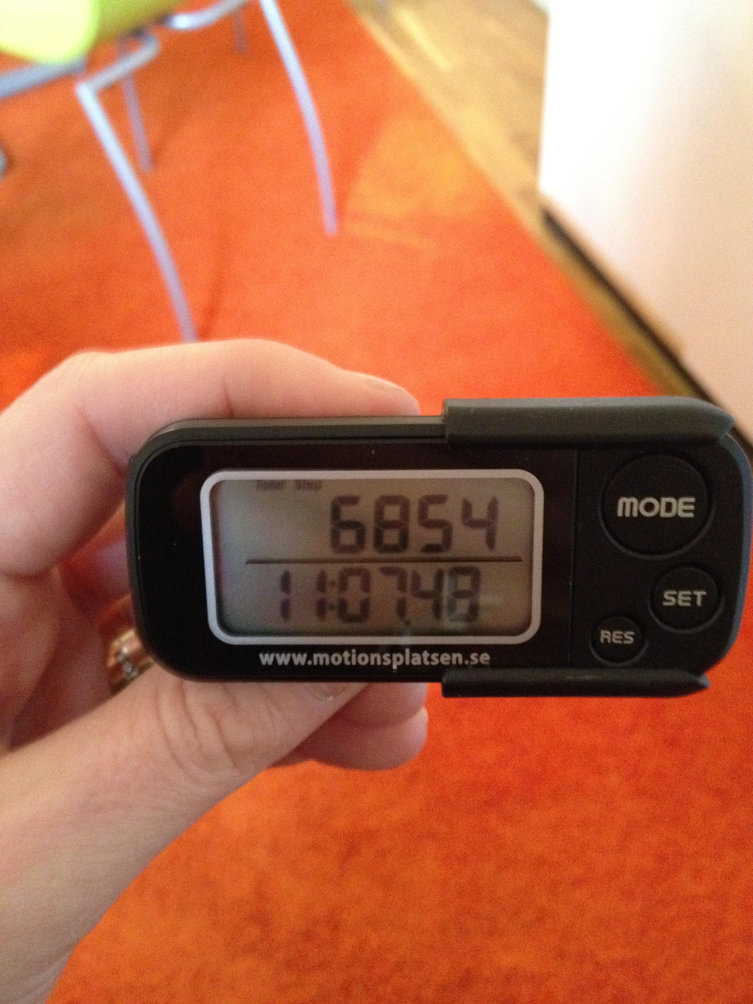 Klockan 11 hade jag gått 6854 steg. En rätt bra början.