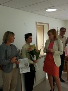 Här står jag tillsammans med konstnären Lisa Petrelius och kulturförvaltningens projektledare Torunn Skoglund.