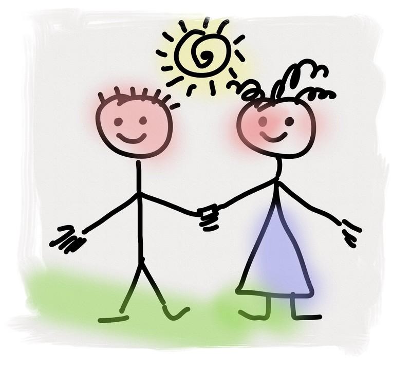 Illustration av en kvinna och en man. Jämställda.
