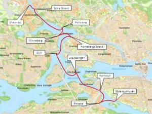 Förslag till ny pendelbåtslnje mellan Ulvsunda och Södersjukhuset.