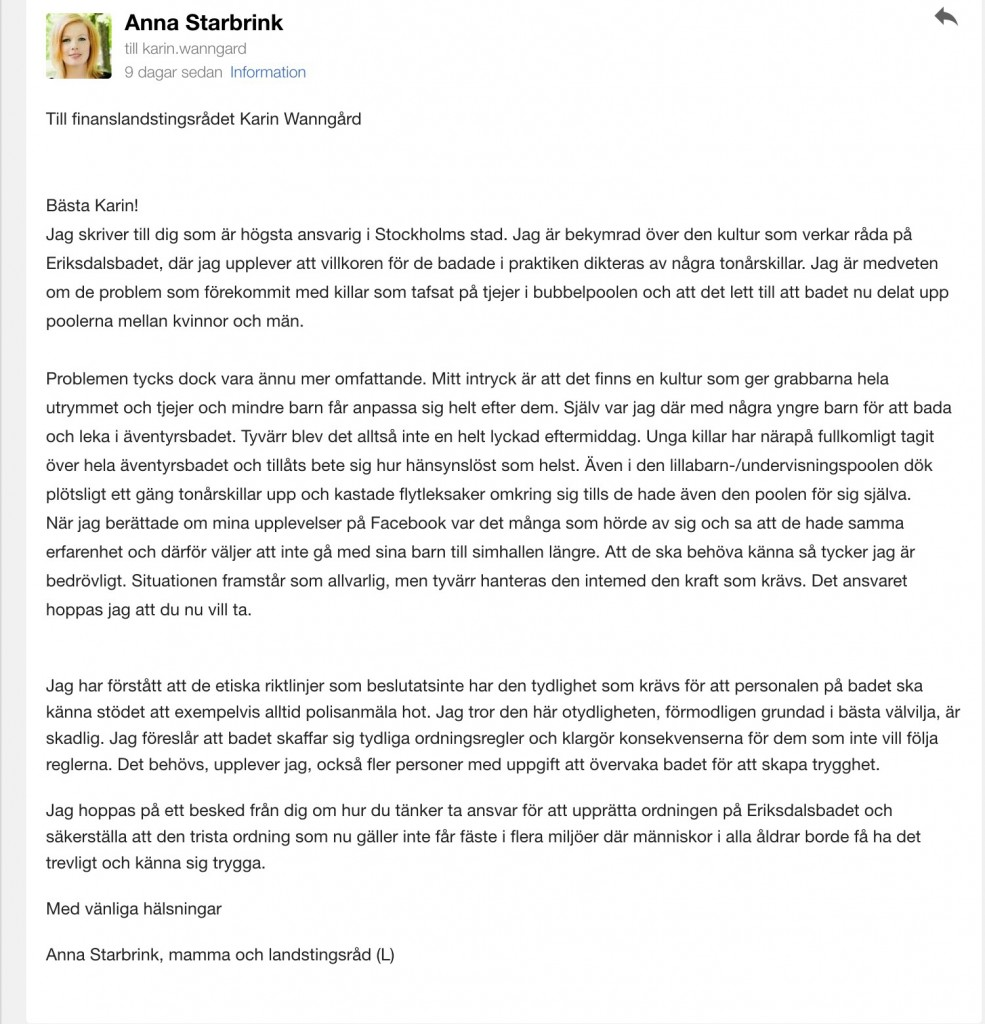 Mitt brev till finansborgarrådet
